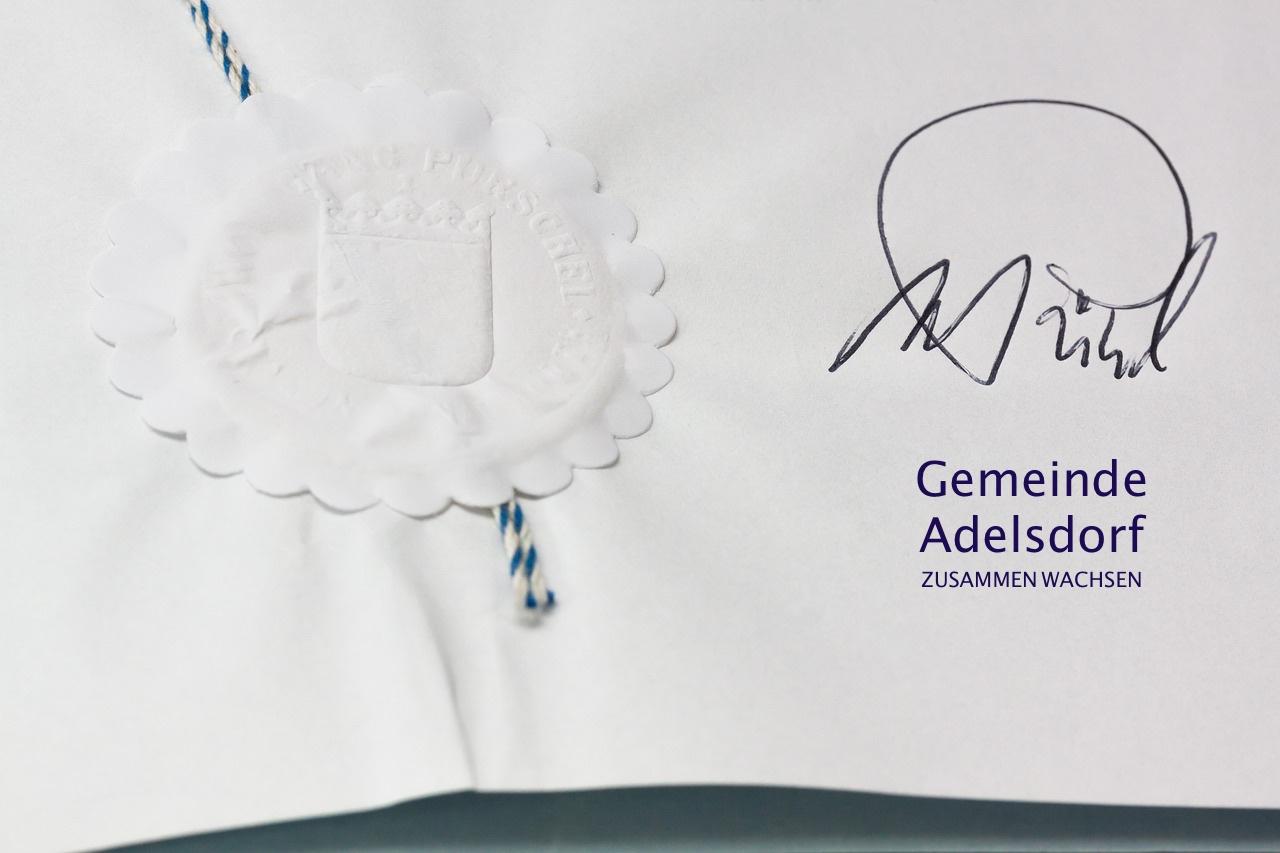 Ehrenurkunde der Gemeinde Adelsdorf